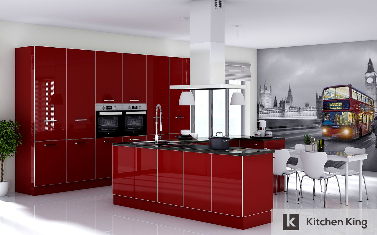 Kitchens sharjah uae kitchen cabinet door styles cabinet door styles - Red Modern Kitchen