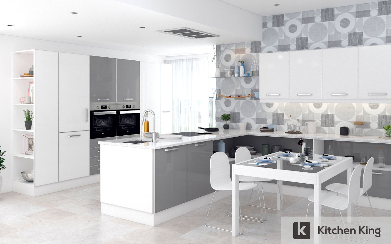 OPEN GRAY AND WHITE KITCHEN