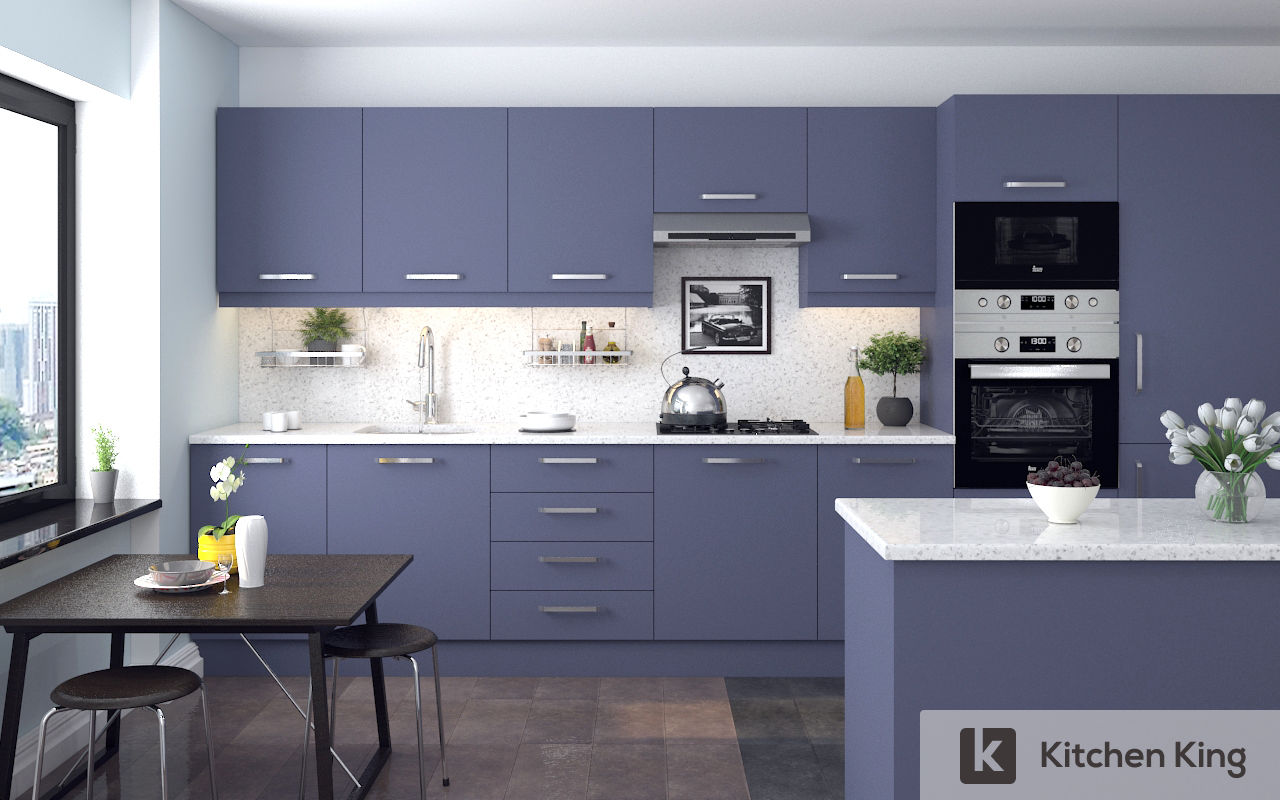 Kitchen cabinet accessories uae - Pigeon Blue Painted Kitchen