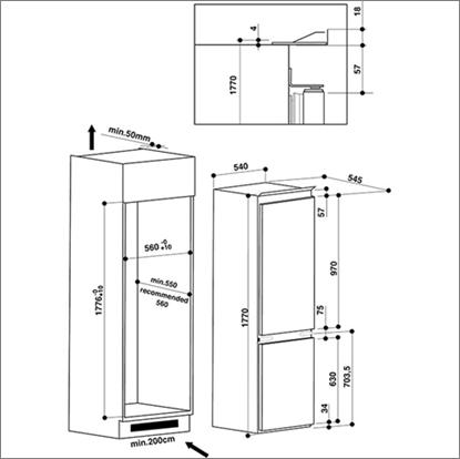 Ariston Bcb7030 Dex Built In Fridge Freezer Kitchen King